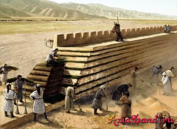 рисунок строительства великой китайской стены
