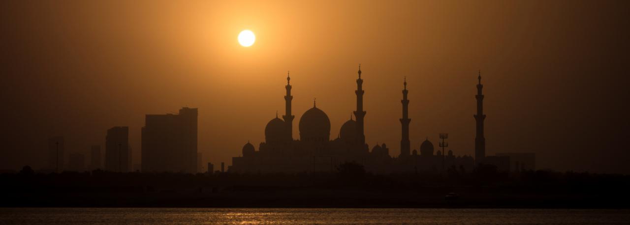 Вечерний вид на Большую мечеть шейха Зайда